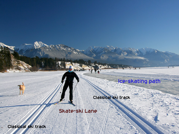 Nordic Ski and Skate at Invermere BC /Lake Windermere Whiteway Trails